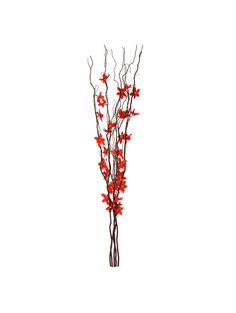 Decorative Brown Wooden Branch Twig LED Lights with Red Flowers