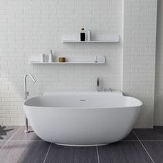 Free Standing Solid Surface Stone Modern Soaker Bathtub 62 x 32 inch -