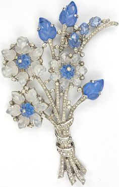 Trifari 'Alfred Philippe' Blue and White Moonstone Fruit Salad Flowers Giant Floral Spray Pin Clip