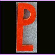 """1930s Bakelite Letter """"P"""" Red Initial Monogram Art Deco Advertising Board"""