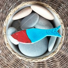 Ceramic Art Handmade Mediterranean Fish Ornament Turquoise Red Rustic Decorative Collectible Summer Decoration Home Wall Hanging by JIJIMA on Etsy