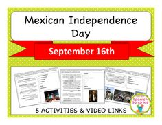 Mexican Independence Day Middle School Activity - These activities will allow students to learn about the history and celebration on Mexican Independence Day while acquiring new vocabulary in the target language, strengthening reading skills, and using higher-order thinking skills.