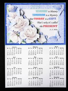 WHITE ROSES 2019 A4 Calendar with Decoupage Mini Kit - CUP894078_68 | Craftsuprint