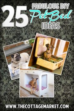 25 Fabulous DIY Pet Bed ideas! - The Cottage Market #PetBeds, DIYPetBeds, #DIYDogBeds