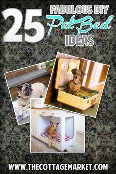 25 Fabulous DIY Pet Bed ideas! - The Cottage Market #PetBeds, DIYPetBeds, #DIYDogBeds
