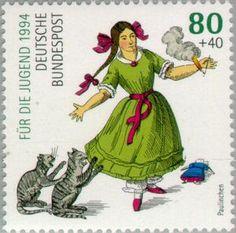בול: Little Pauline (גרמניה, רפובליקה פדרלית) (Youth: Heinrich Hoffman and Slovenly Peter) Mi:DE 2667 German Stamps, Rare Stamps, Children's Literature, Mail Art, Stamp Collecting, Poster, Postage Stamps, Fairy Tales, Illustrator