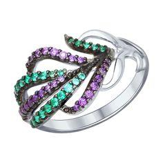 Кольцо из серебра с сиреневыми и зелеными фианитами  94012141