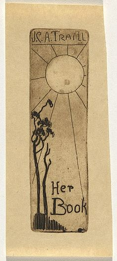 Artist: TRAILL, Jessie | Title: Bookplate: JCA Traill - her book | Date: 1930s | Technique: drypoint, printed in brown ink, with plate-tone, from one plate