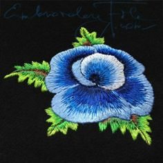 "Needlepainted blue poppy 4""x4"" hoop. Here needlepainting technique has been used. Lower embroidery machine speed and strong stabilizer are recommended. See books from Trish Burr to admire hand stitched needle painting projects."