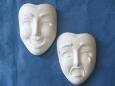 Small Drama Mask Ready to Paint Ceramics by JCArtandCeramics, $5.50