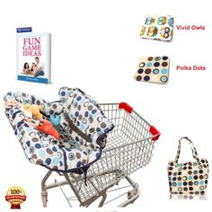 Shopping Cart Cover for Baby & Toddler Used in High Chair As Well, Easy to Fold, Machine Washable - Free Ebook Included!