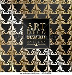 Art Deco vintage wallpaper pattern can be used for invitation, congratulation by Merfin, via Shutterstock