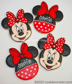 Minnie Mouse cookies, how adorable Minnie Mouse Cookies, Biscuits Mickey Mouse, Minnie Mouse 1st Birthday, Minnie Mouse Theme, 2nd Birthday, Minnie Cupcakes, Bolo Minnie, Mickey Cakes, Mickey Mouse Cake