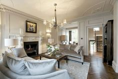 silver living room   The rich silver velvet covers two classically curved sofas in this ...