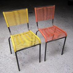 Paire de chaises scoubidou 1950