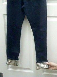 DIY jeans refashion : DIY Studded Cuff Jeans