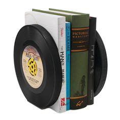 RECYCLED RECORD BOOKENDS - SET OF 2 | Music Memorabilia, Vinyl Records, Retro Decor, Handmade Bookends, Book Shelf Decoration | UncommonGoods