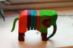 Gardening - wooden elephant - colors