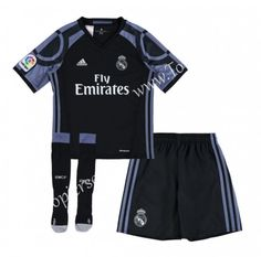 2016-17 Real Madrid Away Black Kids/Youth Soccer Uniform With Socks-Real Madrid| topjersey