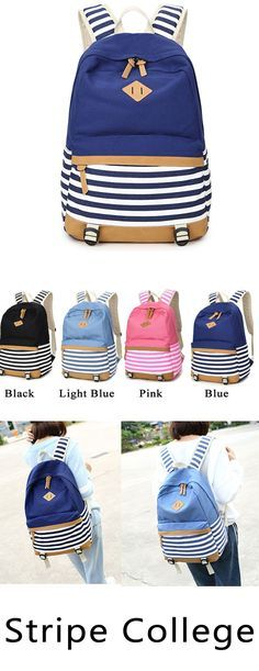 Do you like stripe? Fresh Splice Striped Trunk Travel Rucksack School Canvas Backpack is your perfect choice. #Fresh #Splice #Striped #Trunk #Travel #Rucksack #School #Canvas #Backpack #bag #women #girl