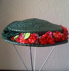 Minnie Pearl Style of Hat HOWDY Green Straw by maggiecastillo, $12.00