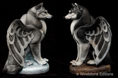 "These are painted like a silver wolf and a black and white husky. They are test painted pieces that were sold on ebay, we usually have these available finished in natural ""stone"" color, like a garg..."