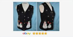 BLACK #uglyChristmassweater VEST SMALL SNOWMEN with a missing button  #BargainSweatervest