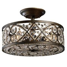"""POMONA CRYSTAL SEMI-FLUSH MOUNT on Joss&Main; (4) 60 Watt candelabra base bulbs;10"""" H x 13"""" Diameter. This really is a lovely mix of modern and classic. I'd love it in the living room"""