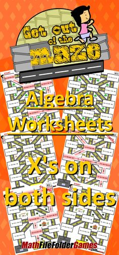 [FREE] These algebra mazes gives the students a fun and differentiated activity while allowing for quick and painless grading! This is a great activity for students to complete as a practice or homework. It will help them practice their math, but also have fun going through the maze! https://www.teacherspayteachers.com/Product/Xs-on-both-sides-2206105
