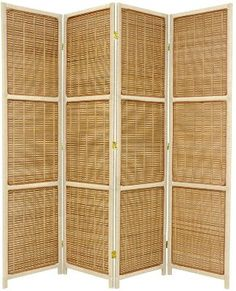 Bamboo and Spruce 4 Panel Room Divider in 2 Frame Colors- Now only $139.99