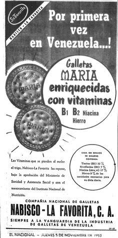 Publicidad de María de Nabisco. Publicado el 05 de noviembre de 1953. Caracas