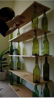 Reduce reuse recycle - shelving using wine bottles