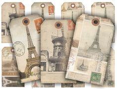 Digital Collage Sheet Download - Vintage Paris Tags -  202  - Digital Paper - Instant Download Printable vintagebyme 3.24 EUR