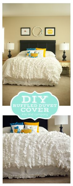 DIY Ruffled Duvet Cover by kiki and company. Make your own knock-off duvet cover!