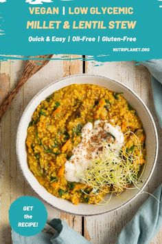 Learn how to make quick and easy millet and lentil stew for a nourishing balancing blood sugar lunch or dinner. You'll need 9 ingredients and about 20 minutes of your time. #lentilstew #lentilstewvegan #lentilstewrecipes #easy veganlunch #easyveganmeals #bloodsugarbalancingmeals #lowglycemicmeals #lowglycemicveganmeals #lowglycemicveganrecipes #wfpbrecipes #wfpbrecipesnooil