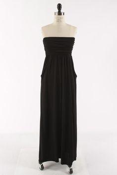 Solid Black Strapless Maxi Dress