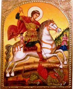 Szent György a sárkánnyal Mitrofan Zograf görög ikonfestő Magyarországi ikonja  XVIII. század
