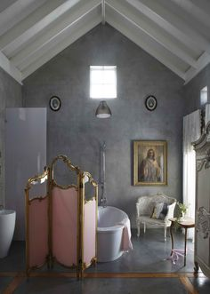 Really, the best things about this bathroom are the images of the Sacred and Immaculate Hearts.