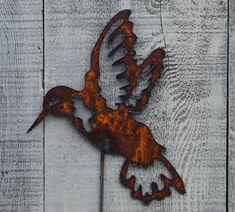 Hummingbird Garden Stake Rusty Metal Art Garden Decor by FoothillMetalArt on Etsy