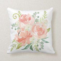 Shop Peaches and Cream Watercolor Floral Throw Pillow created by DancingPelican. Best Bed Pillows, Best Pillows For Sleeping, Diy Pillows, Custom Pillows, Cricut, Homemade Pillows, Feminine Decor, Ideias Diy, Floral Throw Pillows