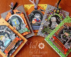 Copic Halloween card set using the Mama Elephant - Bootastic stamp set along with the matching die set. Made by Valerie