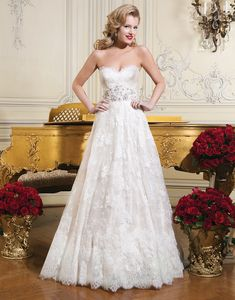 Justin Alexander wedding dresses style 8766 Chantilly lace ball gown emphasized with a sweetheart neckline.