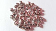 50 x Tibetan Silver Plated Beads - Flat Round Disc - 6.5mm - Heart