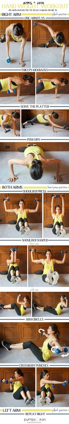 Arm + Core Hand Weight Workout #fitness #strong