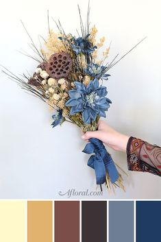 Find the perfect fall florals to make your fall wedding color palette come to life! This color palette consists of light tones such as tan and caramel, and dark tones like chocolate brown, dark brown, and navy and slate blue. Fall Color Palette, Blue Colour Palette, Color Blue, Tan Wedding, Wedding Rings, Wedding Ideas, Perfect Wedding, Wedding Stuff, Brown Color Schemes
