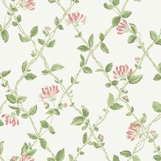 A classic honeysuckle trellis design with diamond shapes and pretty flowers. Shown here in the natural colours with pink flowers on an off white background. Dining Room Wallpaper, Wall Wallpaper, Pattern Wallpaper, Bathroom Wallpaper, Pretty Flowers, Pink Flowers, Trellis Design, Green Wallpaper, Designer Wallpaper