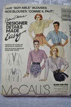 McCalls Sewing Pattern 5296 Misses Blouses Size 14 Fashion Clothing DIY PanchosPorch Mccalls Sewing Patterns, Vintage Sewing Patterns, Size 14 Fashion, 90s Pattern, Handmade Beaded Jewelry, So Creative, Collar Blouse, Diy Clothes, Print Patterns