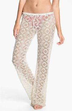 loving the crochet cover-up pants.