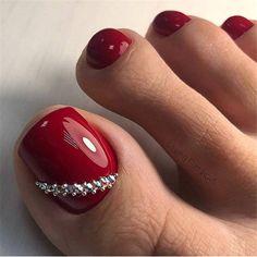 amazing toe nail colors to choose for next season 14 Pretty Toe Nails, Cute Toe Nails, Fancy Nails, My Nails, Purple Toe Nails, Pedicure Colors, Pedicure Nail Art, Pedicure Designs, Red Pedicure