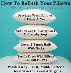 The Homestead Survival | How To Refresh and Clean Your Pillows | http://thehomesteadsurvival.com